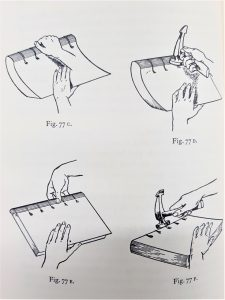 Using firstly hands and fingers to create spine round, then backing hammer